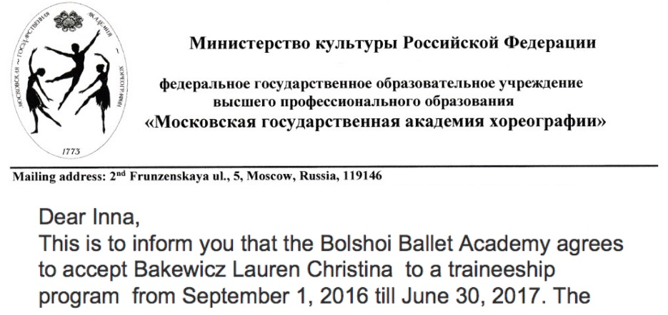 Lauren Bakewicz accepted to Bolshoi Ballet Academy